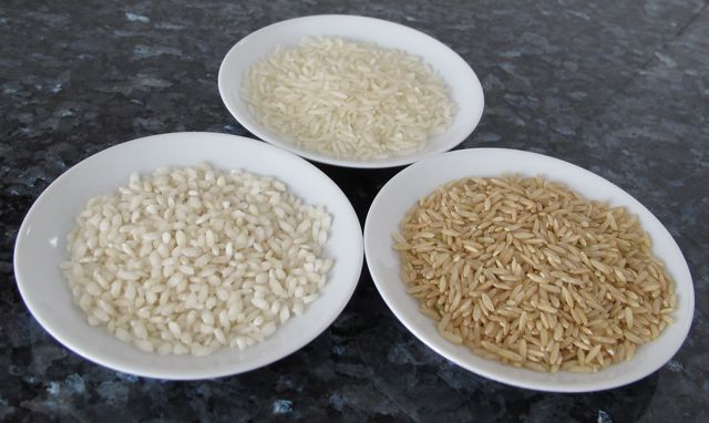 3 types of rice, long grain, short grain and brown
