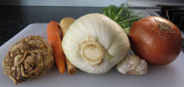 soup, vegetables, celery root, carrot, parnsip, fennel, garlic, onion