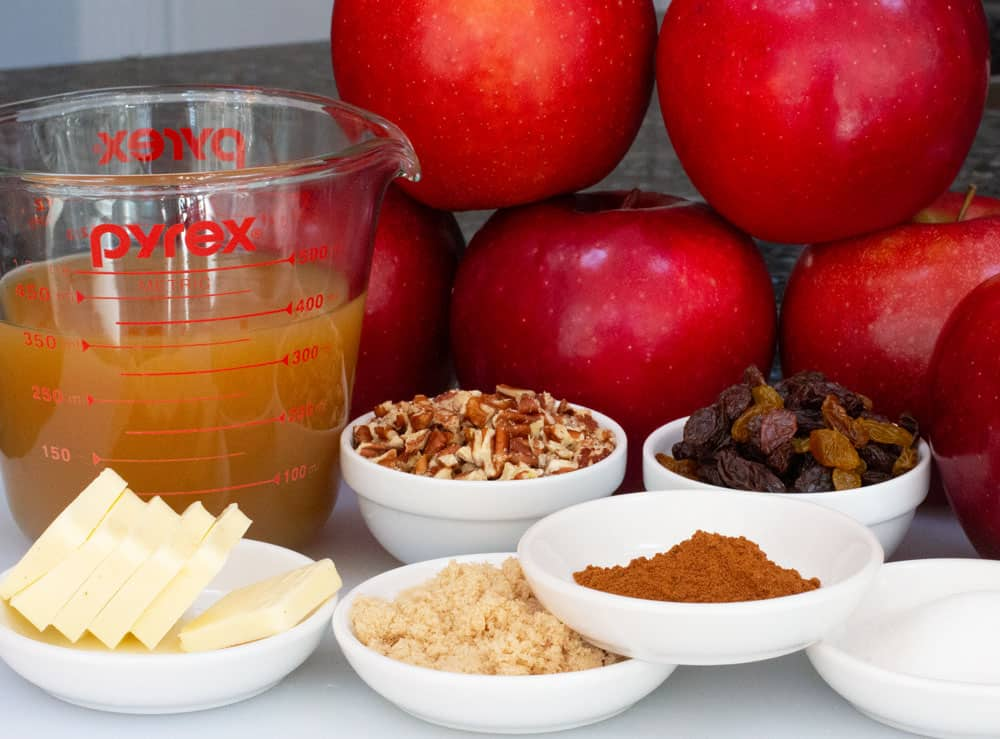 Ingredients for simple oven-baked apples