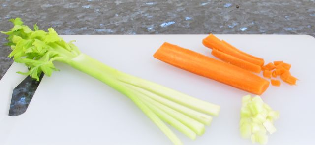 vegetables, dice, directions, cut vegetables, carrot, celery