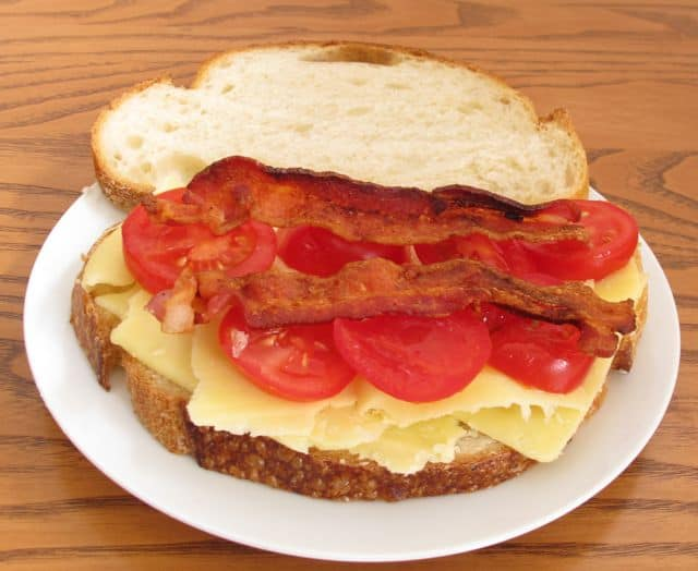 grilled cheese, ready-to-cook, bacon, tomato, cheese, bread