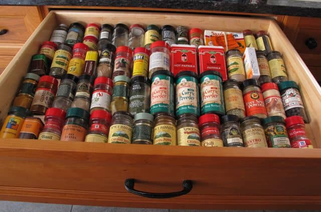 bottled herbs and spices in drawer