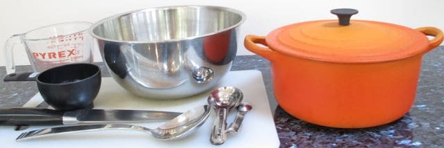 utensils, measuring cup, measuring spoons, bowl, pot