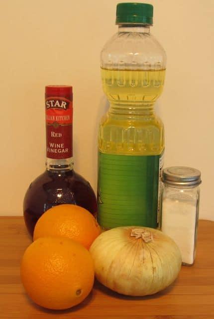 orange, onion, vinegar, oil, salt