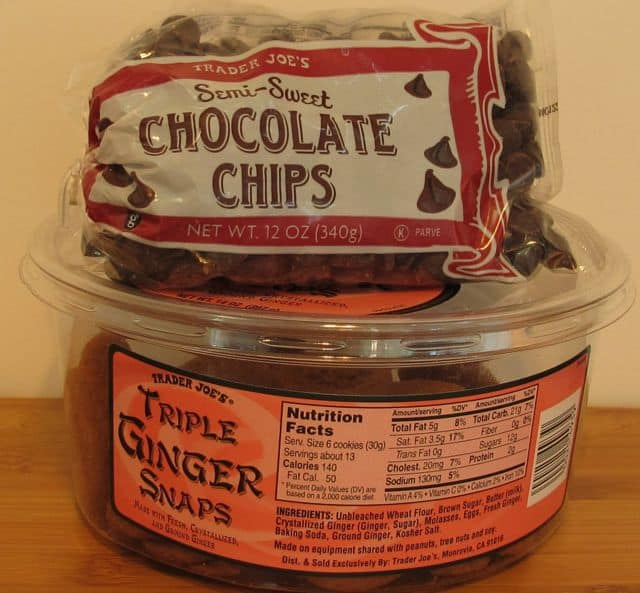 Trader Joe's, chocolate, chocolate chips, ginger snaps, cookies