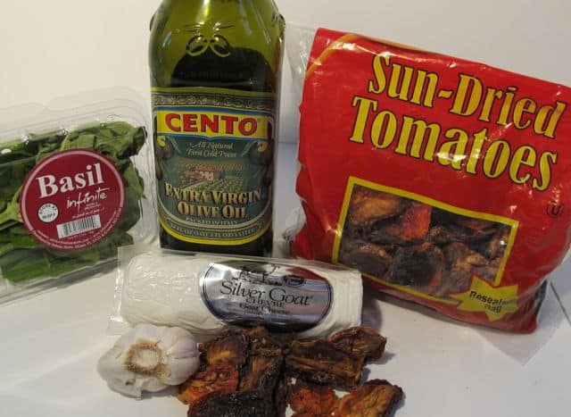 ingredients for basil and sun-dreid tomato appetizer