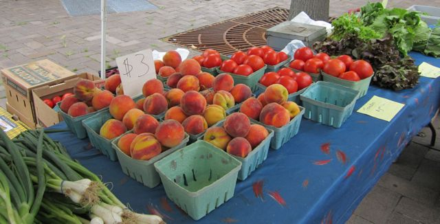 farmers' market, fruit and vegetable stand, produce, fruit, vegetables