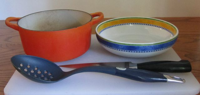 easy recipe, equipment cutting board, slotted spoon, knife,