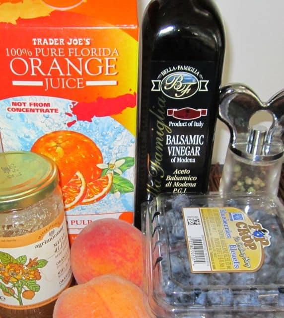 fruit sauce ingredients, blueberries, peaches, orange juice, honey, balsamic vinegar
