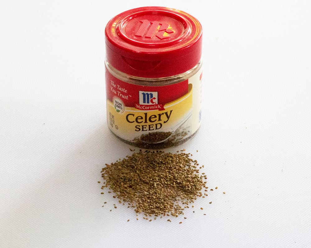 celery seed plus jar with label for that spice
