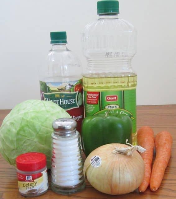 picnic, bar-b-cue salad, cole slaw, ingredients, cabbage, carrots, green pepper, oil & vinegar, sugar, salad dressing