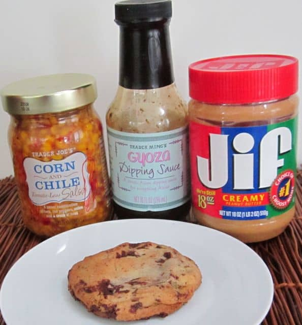 foods container sugar or other sweetener, cookies, dumpling dipping sauce, enchilada sauce, peanut butter