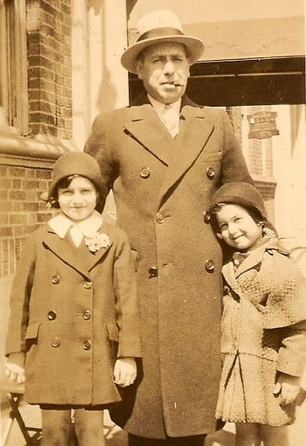 Grandfather, man and daughters, old fashioned picture of family