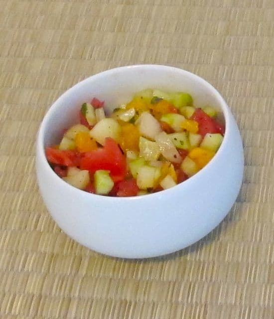 cucumber-tomato salad with Indian spices, roasted cumin seed