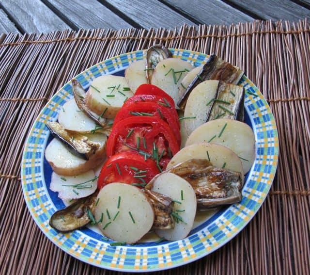 composed salad, eggplant salad, roasted eggplants room temperature