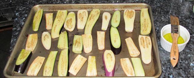 how to roast eggplant, brushing oil on eggplant
