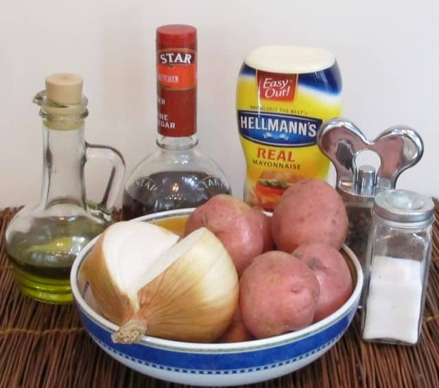ingredients for potato salad, potatoes, mayonnaise, onion