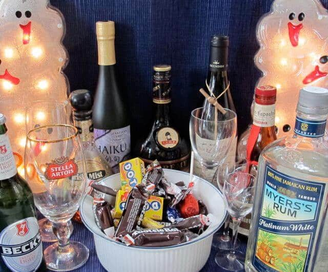 Halloween hangover, candy, alcohol, drinking party