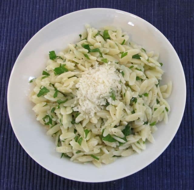 orzo pasta with cheese and parsley