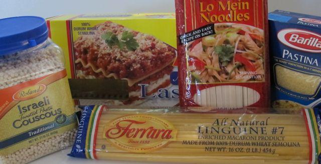 pasta, pastina, lo mein, lasagna noodles, linguine, Jerusalem cous cous