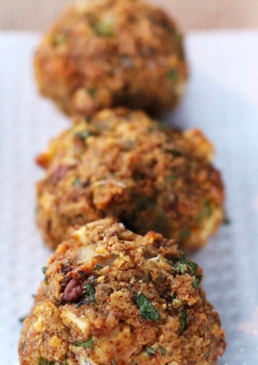 Cornbread stuffing balls are easy and delicious.