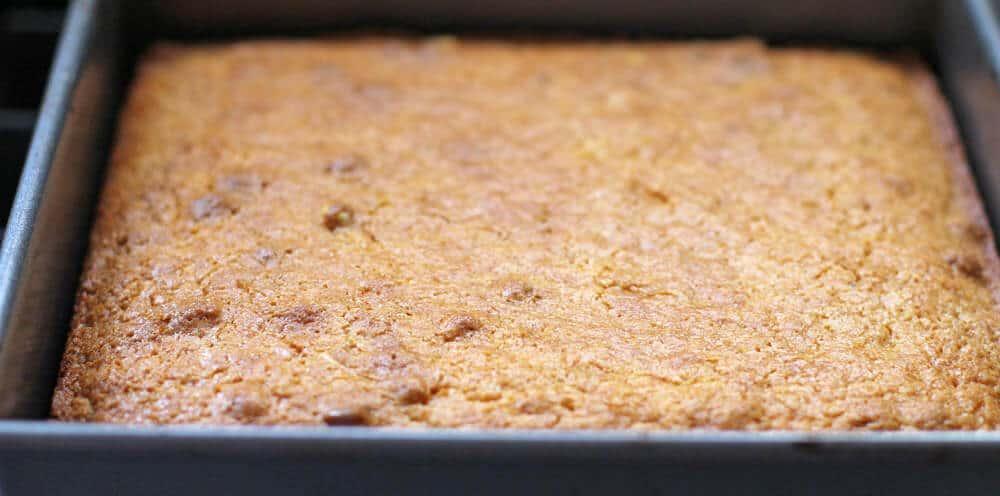 Baked cornbread for cornbread stuffing balls.