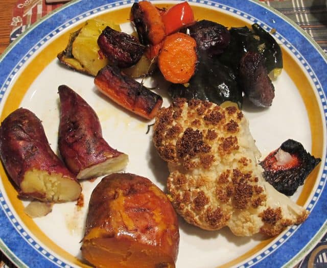roasted and baked vegetables- roasted cauliflower, baked sweet potatoes, roasted brussel sprouts, roasted beets