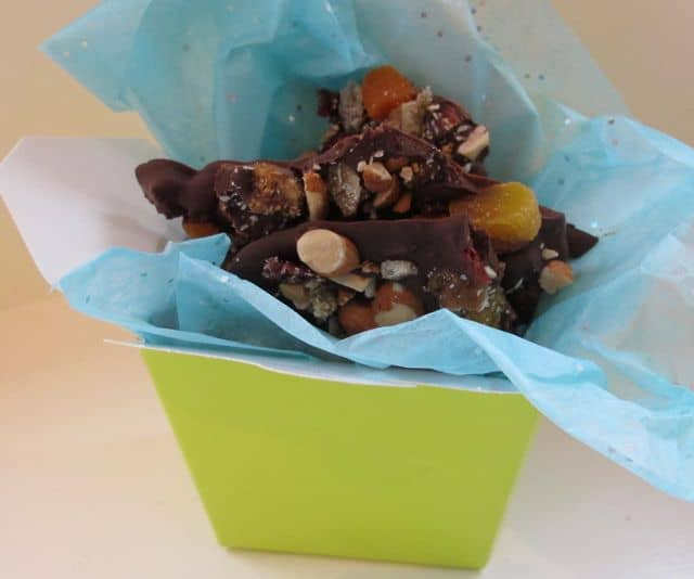 trail mix or chocolate bark for a valentine's day present
