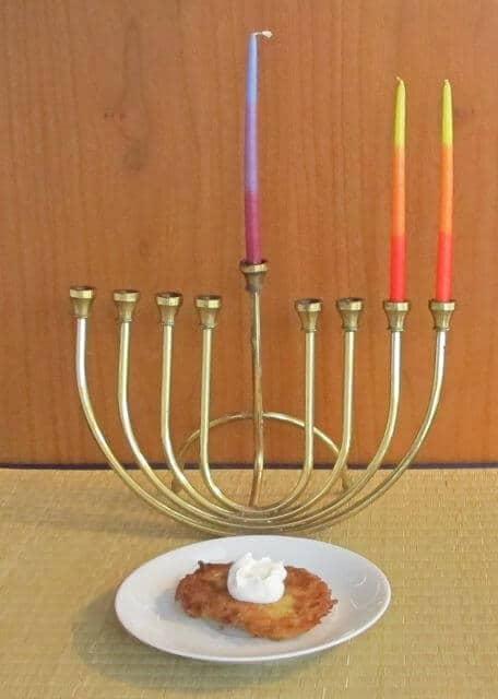 latkes with Chanukah or Hanukkah menorah