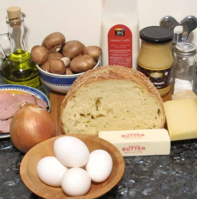 ingredients for ham and cheese strata