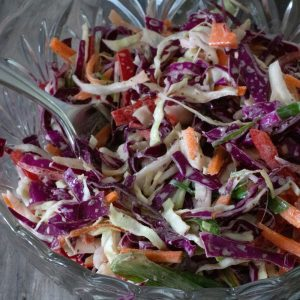 easy cole slaw in a serving bowl