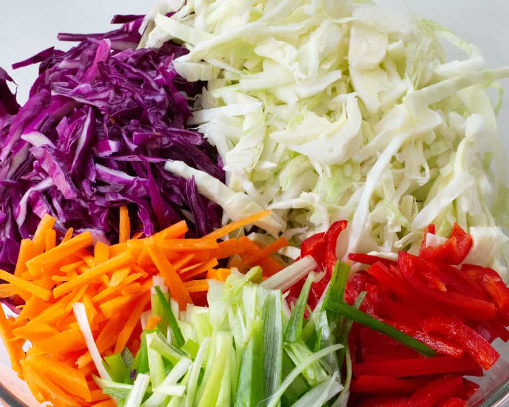 colorful vegetables for easy cole slaw