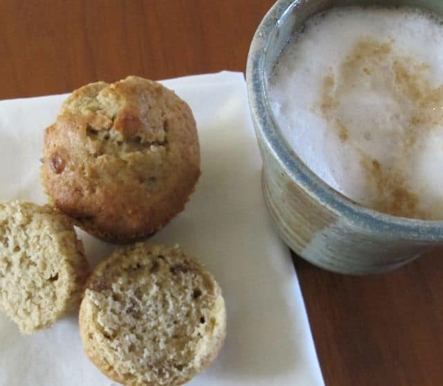applesauce walnut muffin and coffee