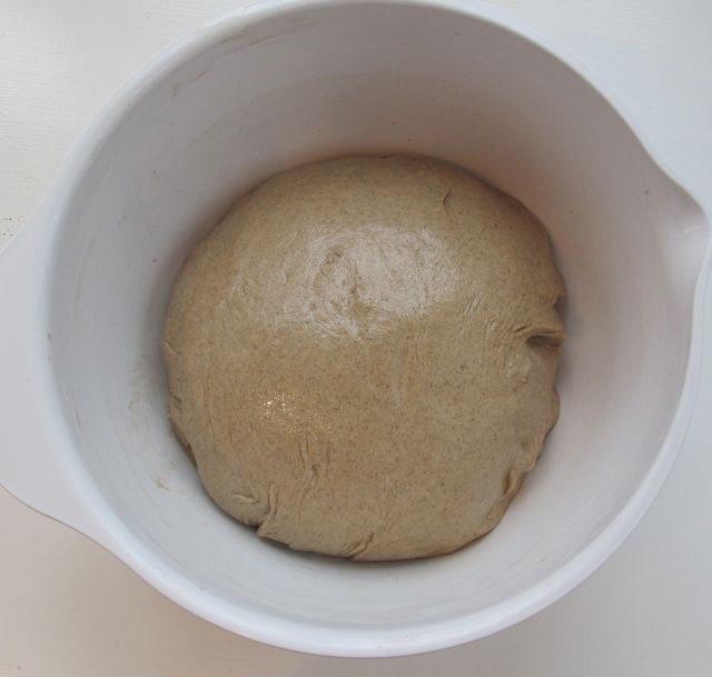 bread in bowl before rising first time