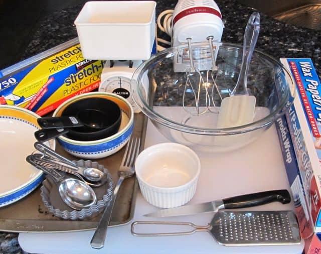 equipment and utensils needed to make single serving lemon ginger ricotta cheesecake tartlets
