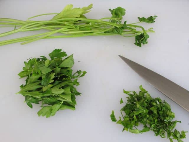chopped parsley for meatballs
