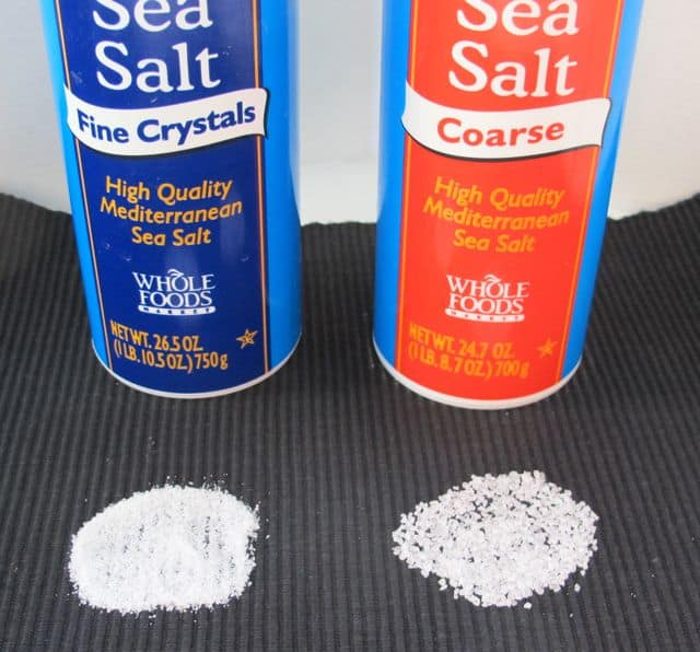 comparing fine to coarse salt
