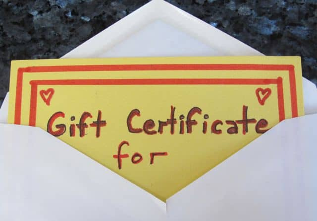 giving a gift certificate for valentine's day
