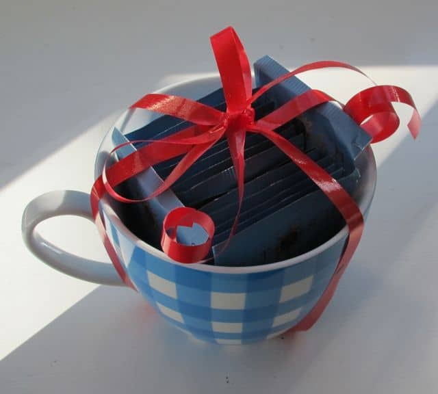 tea or coffee with mug as valentine's day gift