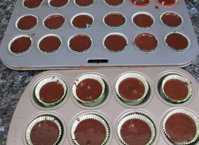 putting cupcakes in the muffin tins