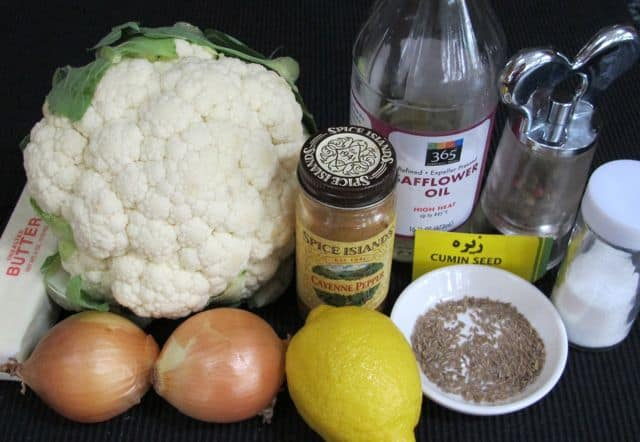 ingredients for roasted cauliflower and cumin dip