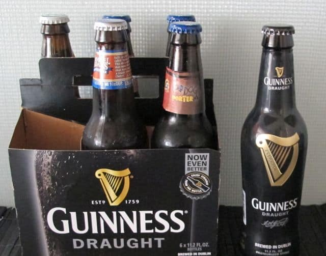6 pack of beer including Guinness and Flying Dog