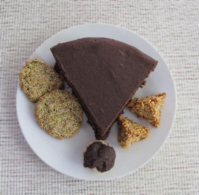 Passover desserts, flourless chocolate cake, coconut macaroon, pistachio macaroon, hazelnut macaroon