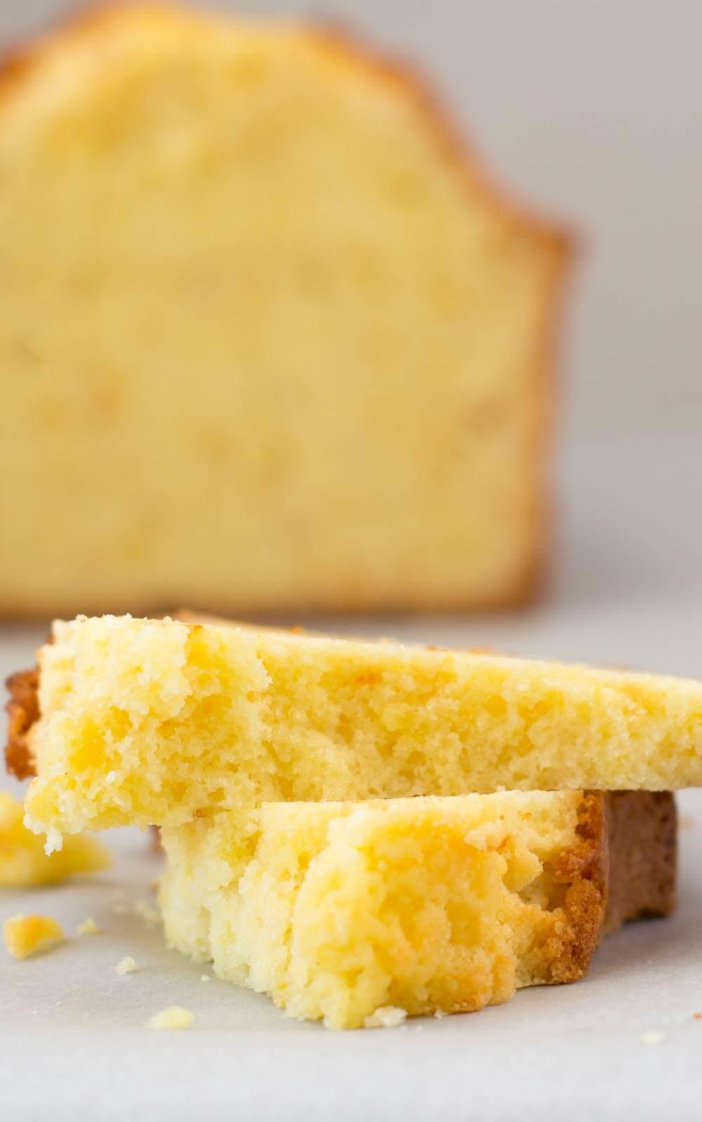 Piece of citrus loaf cake, broken - Easy Citrus Ginger Loaf Cake