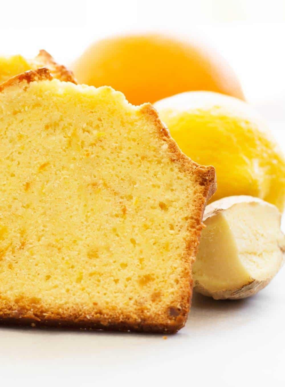 Citrus ginger loaf cake with orange, lemon, and ginger