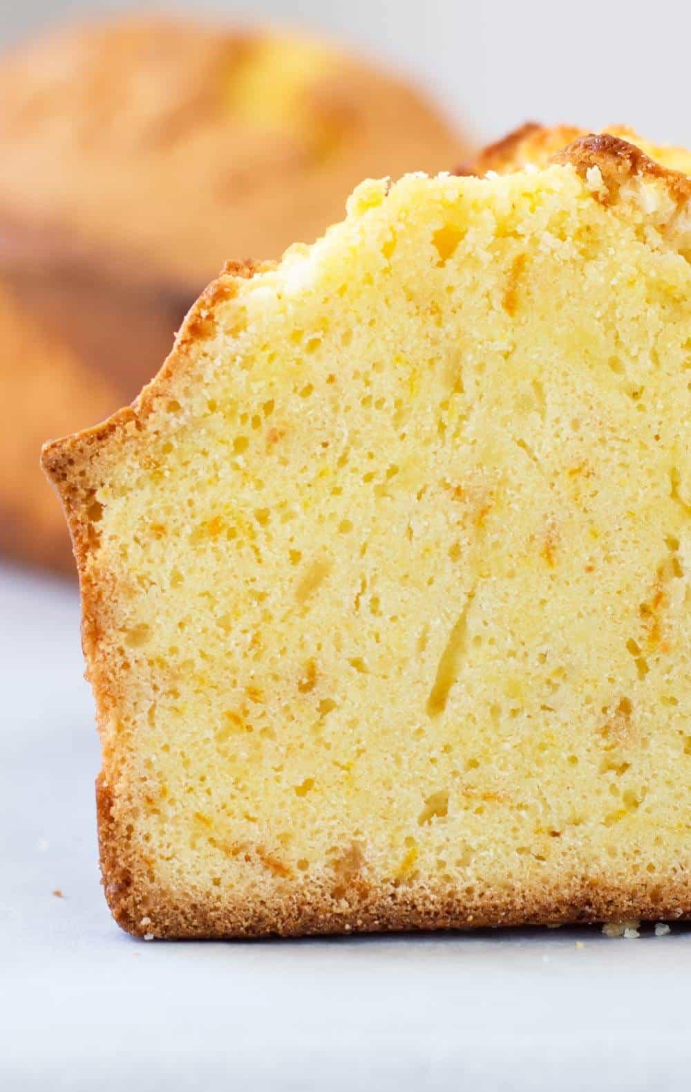 Slice of citrus ginger loaf cake