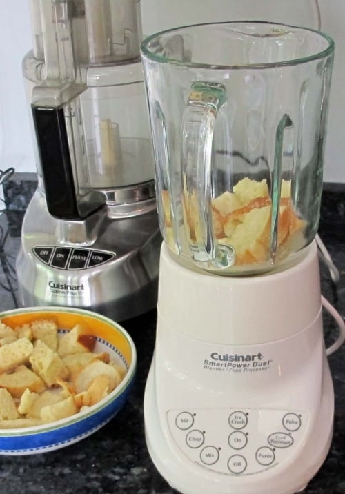 creating breadcrumbs from stale bread in blender