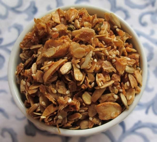 granola in ramekin ready to eat