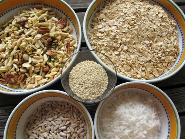 oats and other dry ingredients for granola