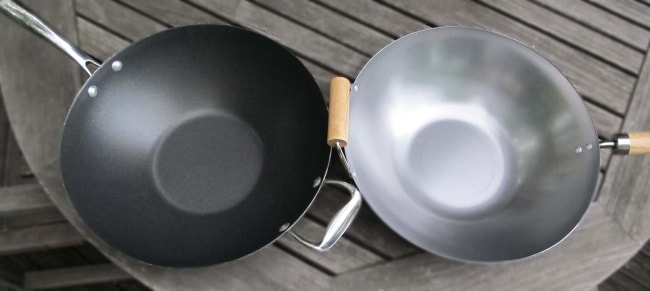 woks for stir frying should be carbon steel not non-stick